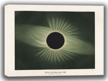 Trouvelot, Etienne Leopold: Total Eclipse of the Sun. (The Trouvelot Astronomical Drawings, 1882). Astronomy/Space Canvas. Sizes: A4/A3/A2/A1 (00105)